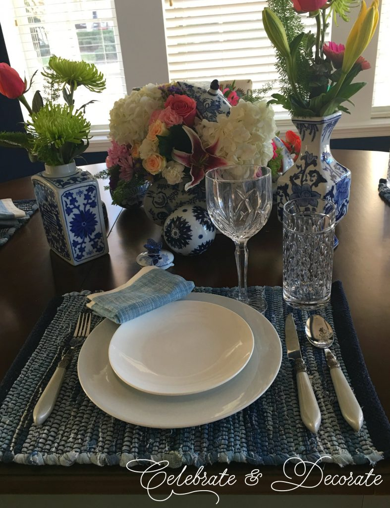 Blue and White Chinoiserie Inspired Tablescape