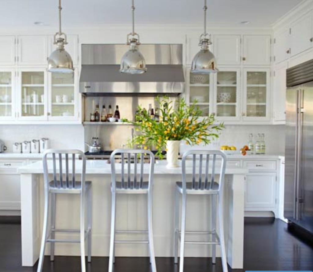 Beautiful white kitchen with island