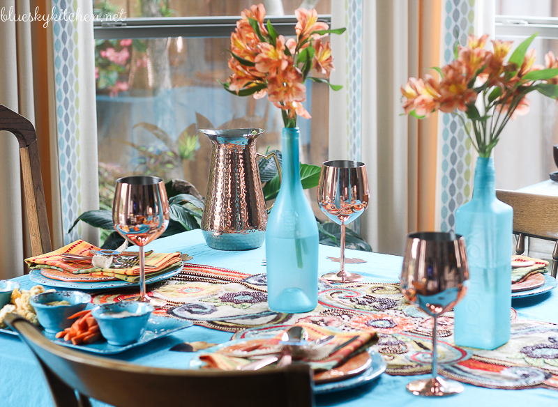 Autumn tablescape with turquoise