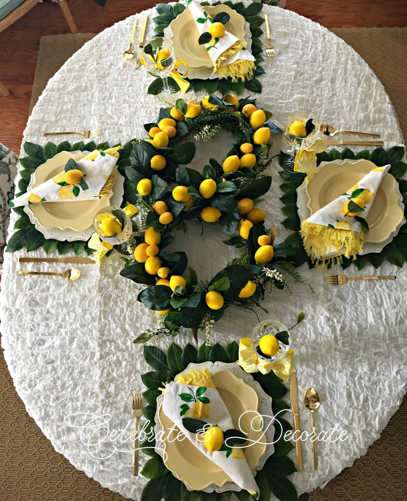Lemon-themed tablescape