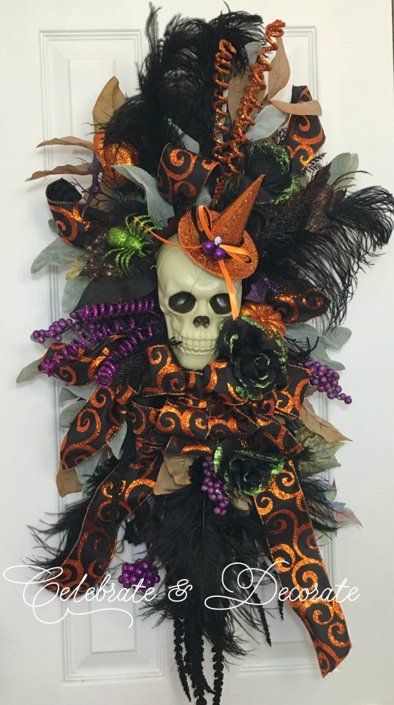 Halloween swag with skeleton elegant