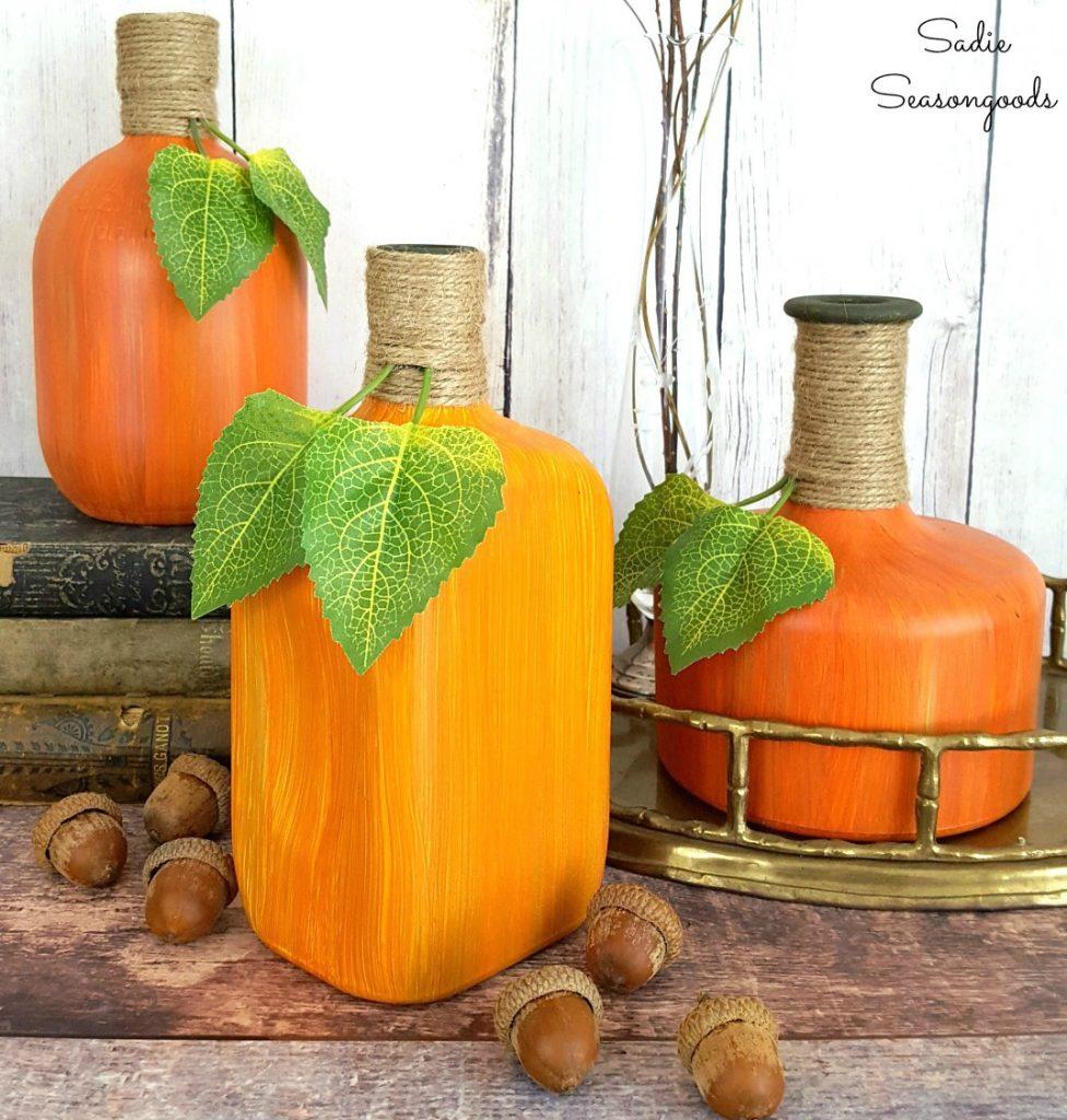 Gourds and pumpkins from bourbon bottles!