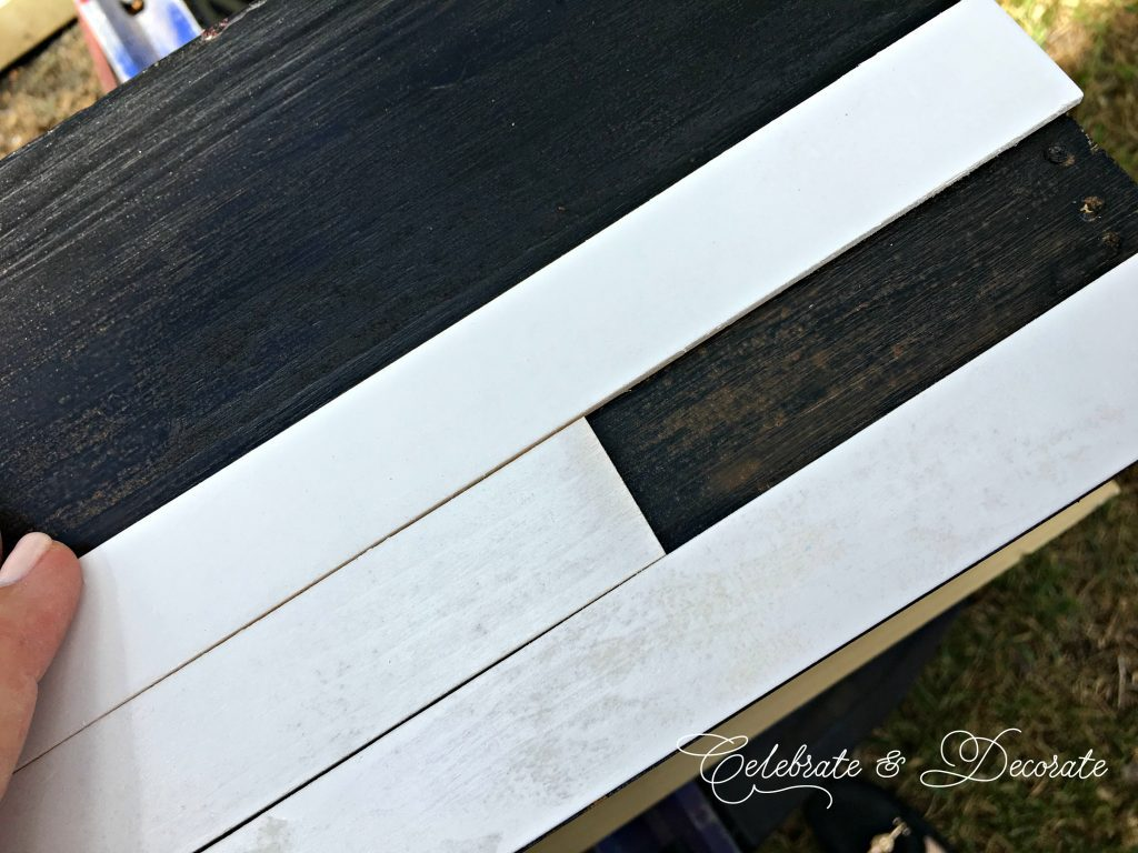 Farmhouse style faux shiplap box