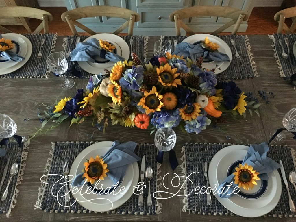 Sunflower and blue tablescape