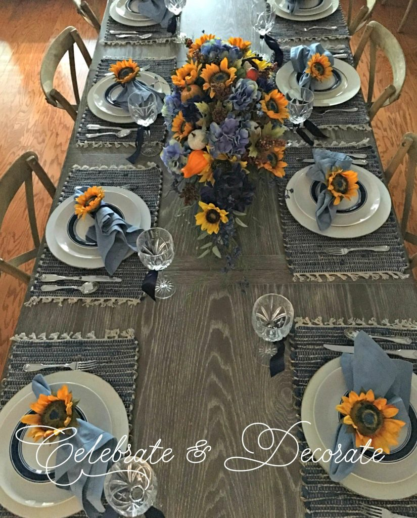 Fall tablescape with sunflowers
