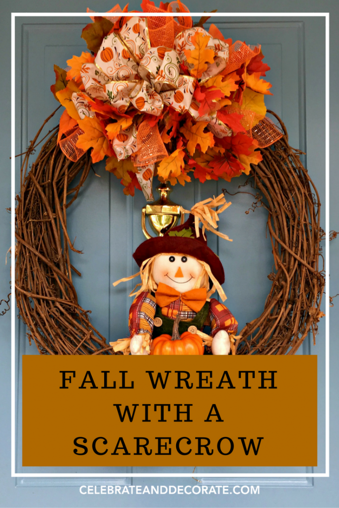 Make a fall wreath with a cute scarecrow
