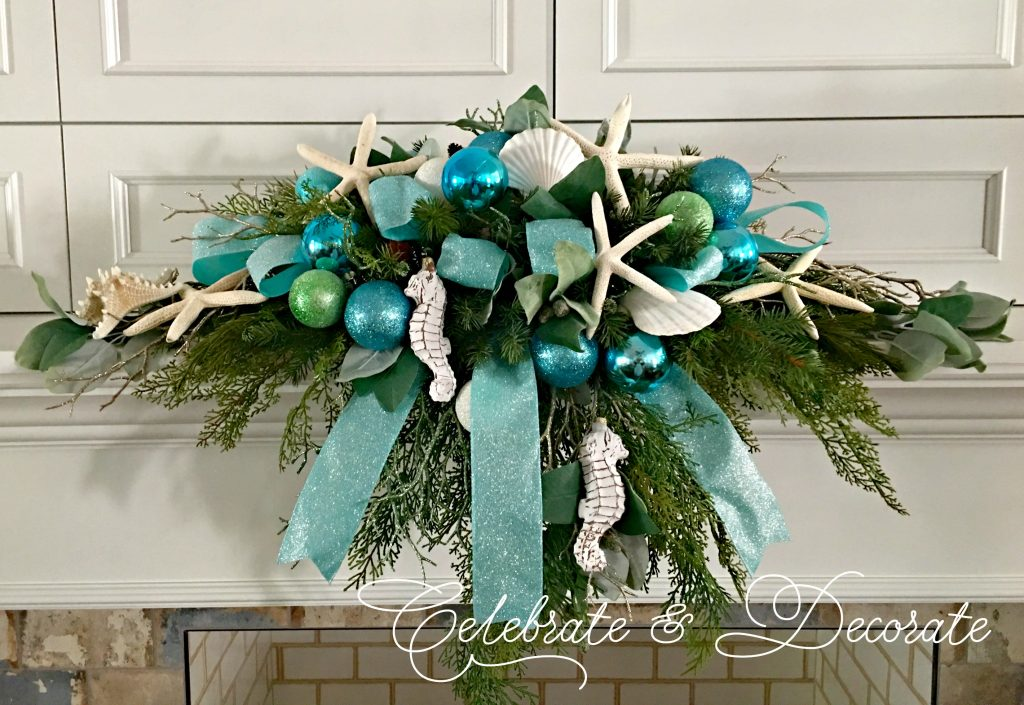 Coastal Christmas Arrangement for your mantel you can make step by step.