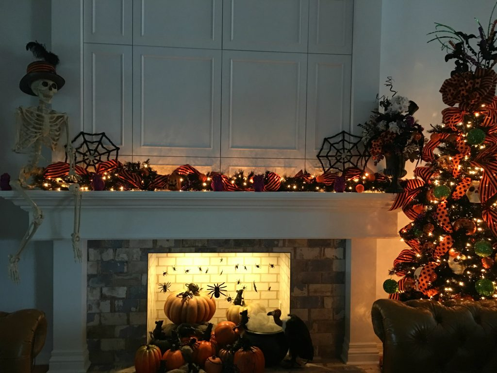 Halloween Tree and Mantel
