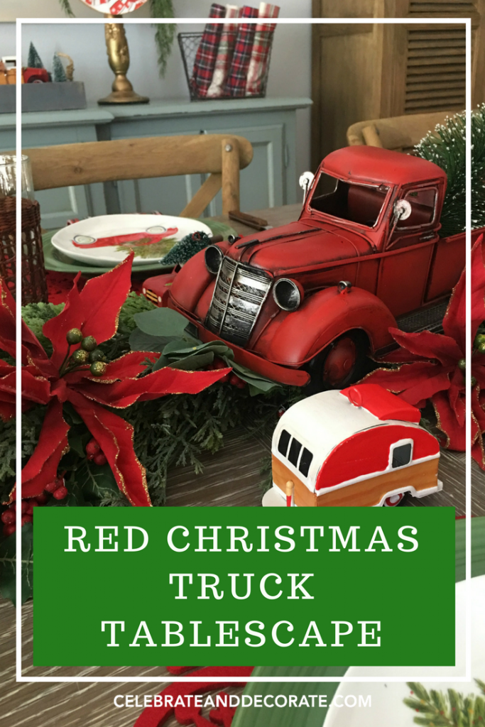 Vintage Red Truck Christmas Placemats.Red Christmas Truck Tablescape Celebrate Decorate
