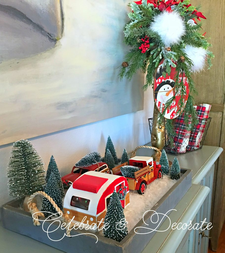Red Christmas Truck Tablescape
