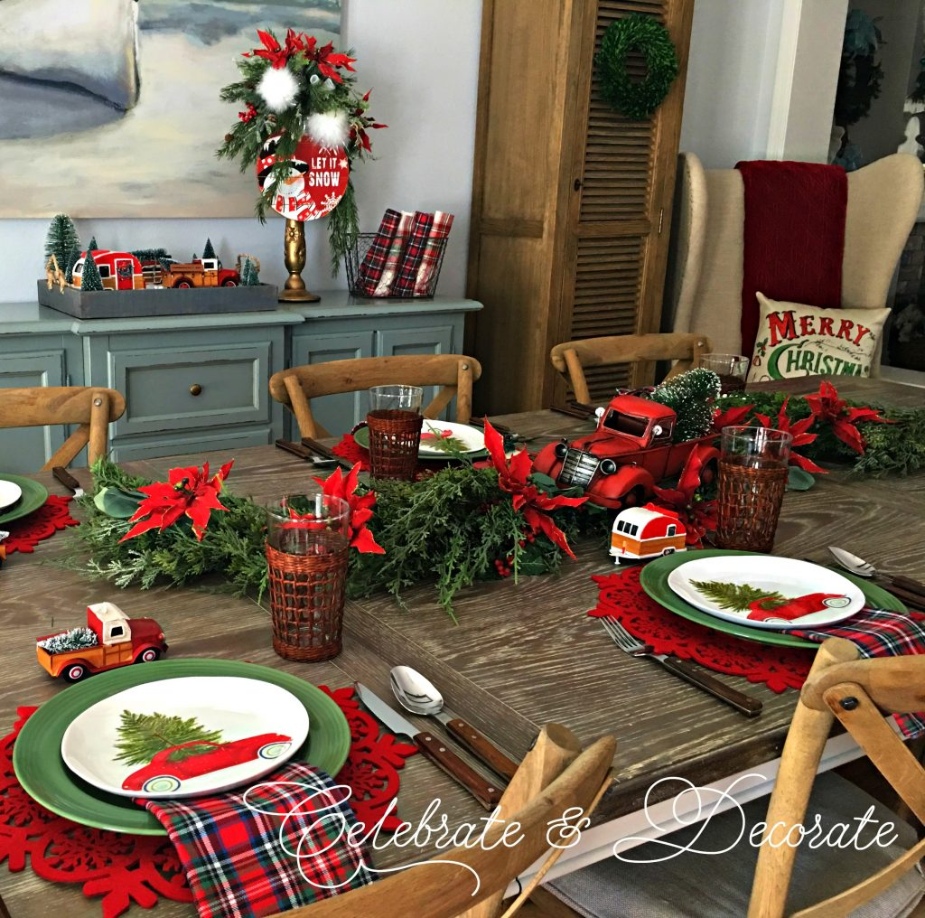 Red Christmas Truck Tablescape Celebrate Decorate