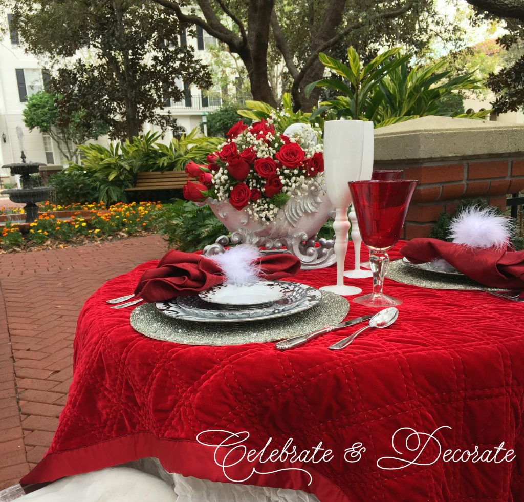 Elegant Christmas tablescape for two.