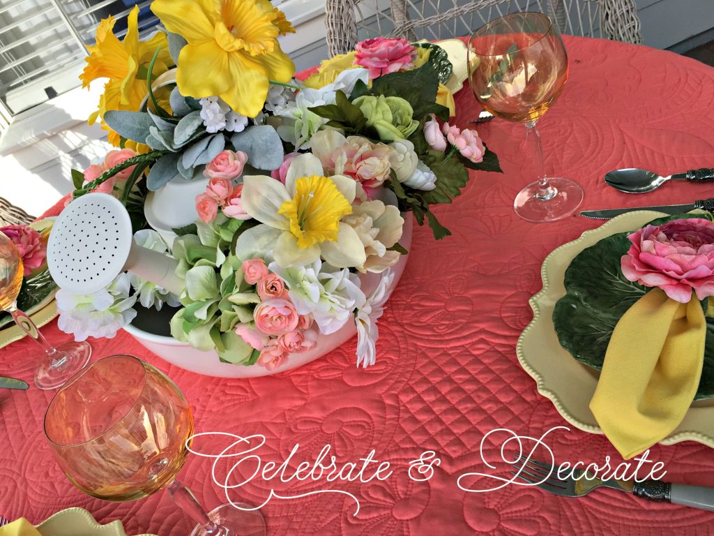 Springy peach tablescape