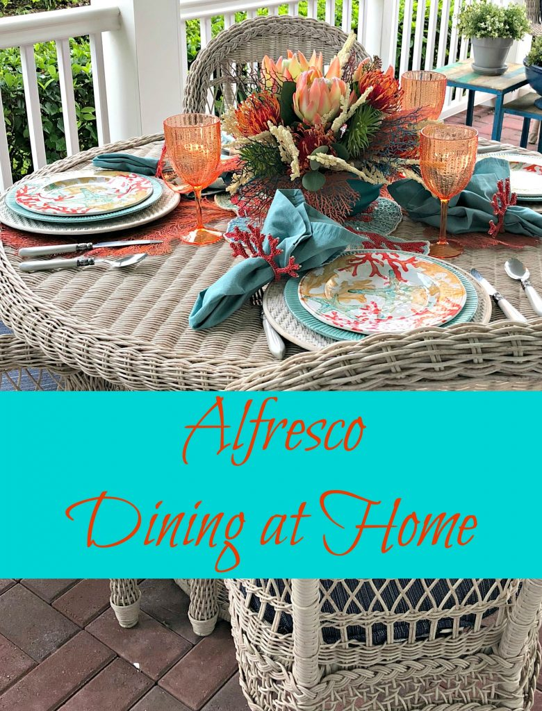 Alfresco Dining at Home with a coastal tablescape in turquoise and coral.