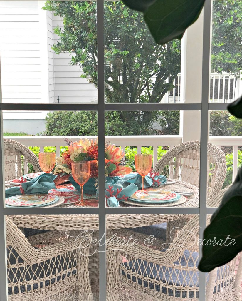 Set a table on the front porch for dinner tonight!
