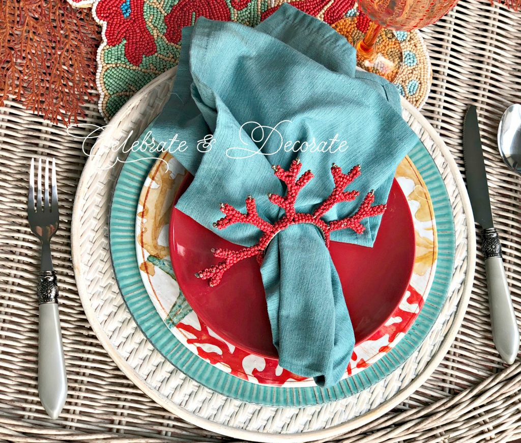 Gather seaside elements for this bright and bold table setting.