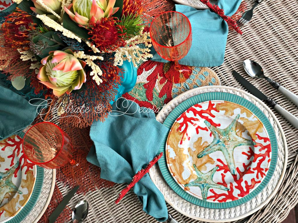 Coral inspired summertime table setting