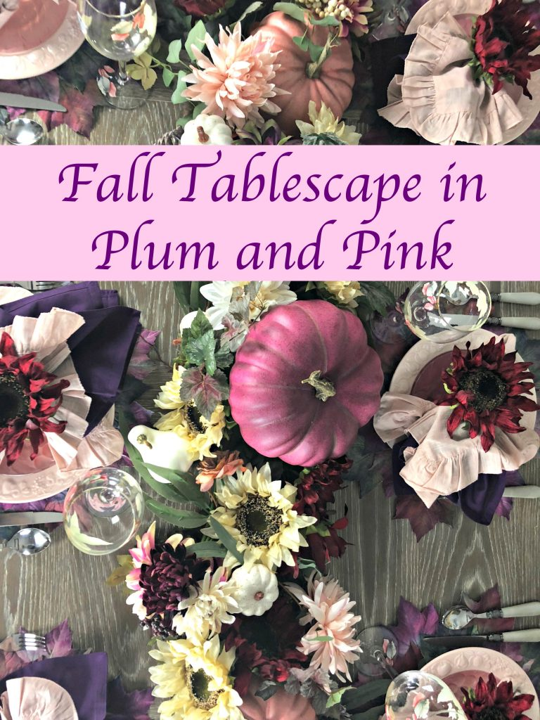 Beautiful fall tablescape in pink and plum