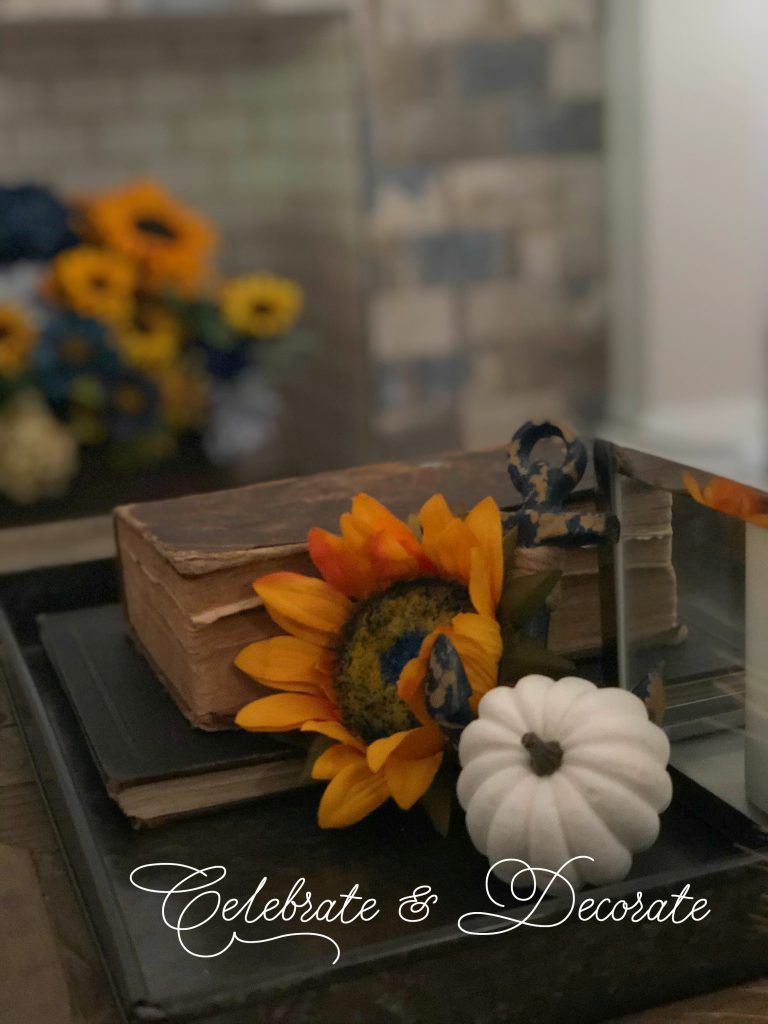 A coffee table vignette for fall