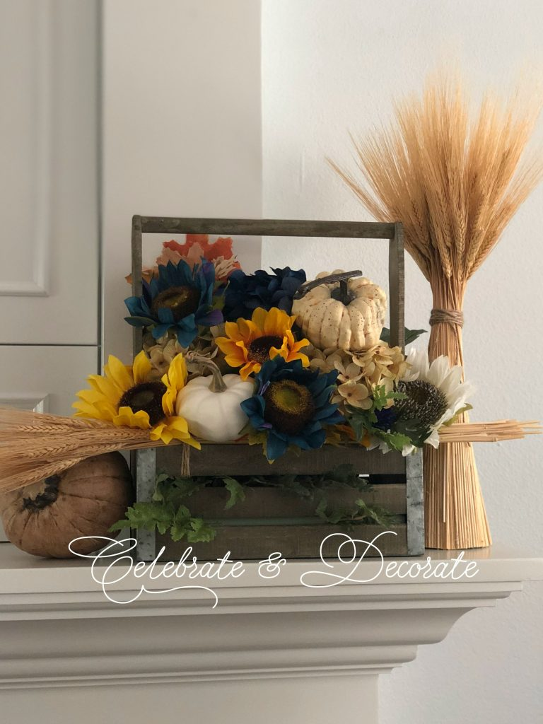 Setting the scene for Fall decor on the fireplace