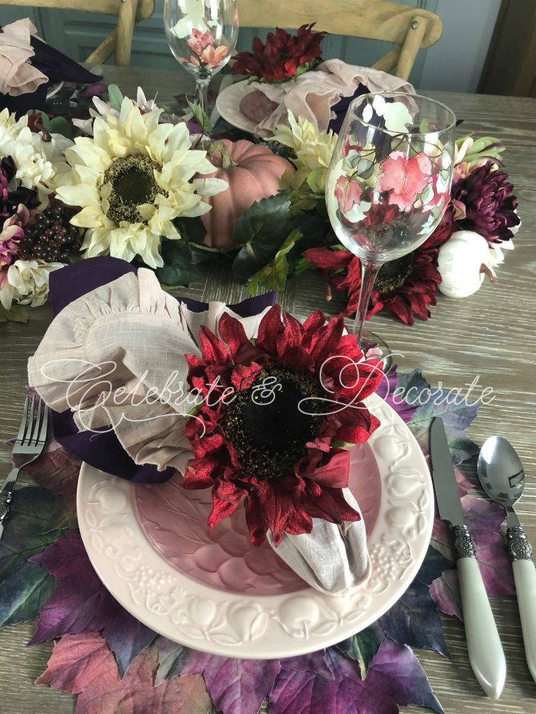 Fall table setting in plum and burgundy