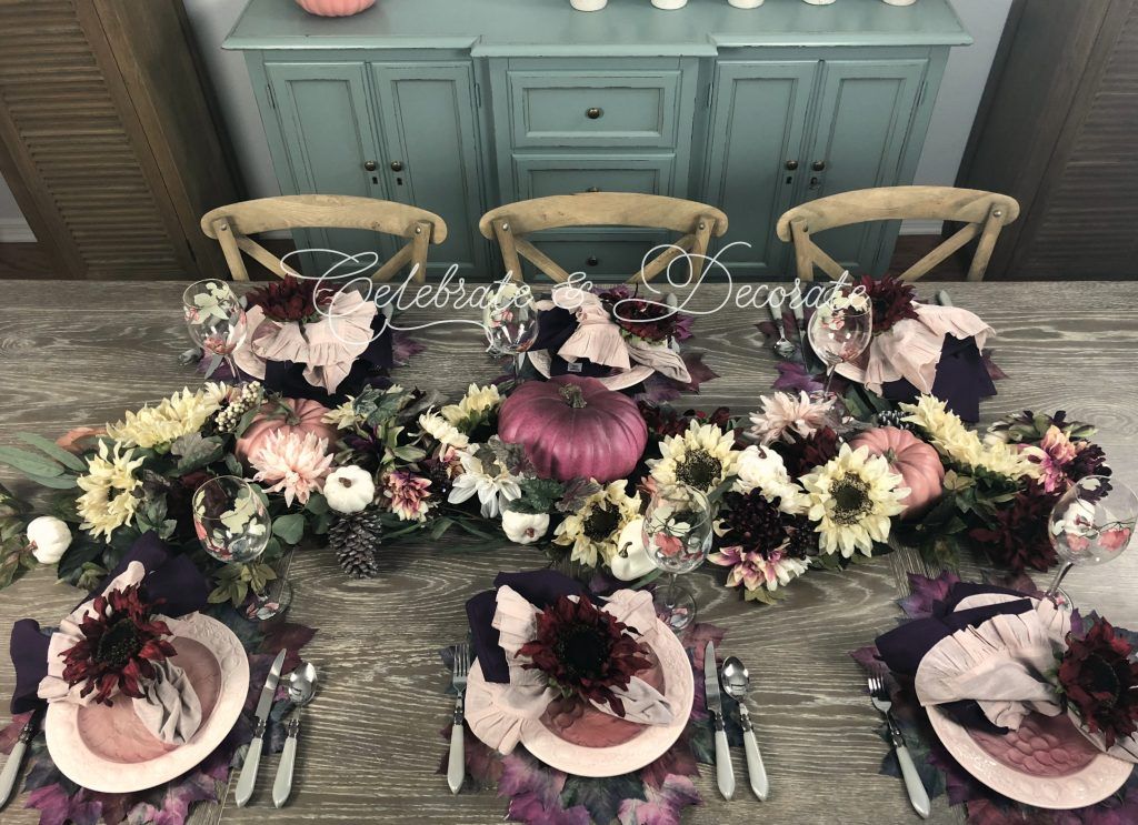 Fall table styled in pinks and purples