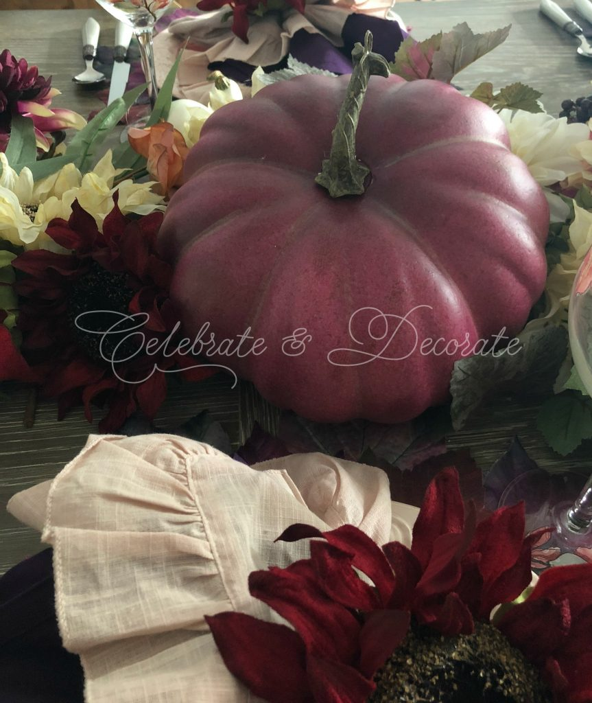 Fall tablescape in plum and pink
