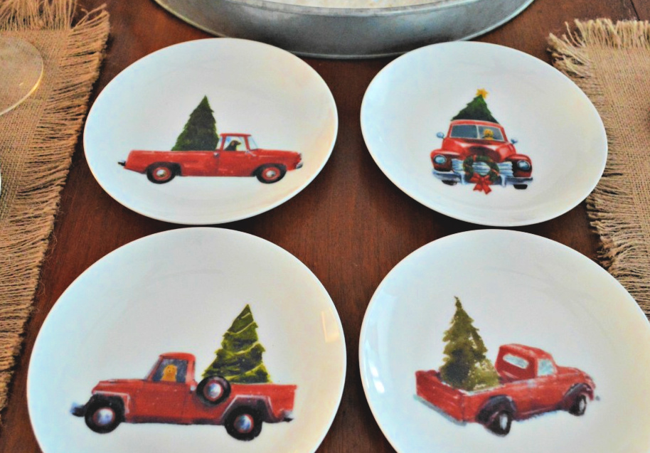 Christmas Dessert Plates Featuring Red Trucks With Christmas Trees