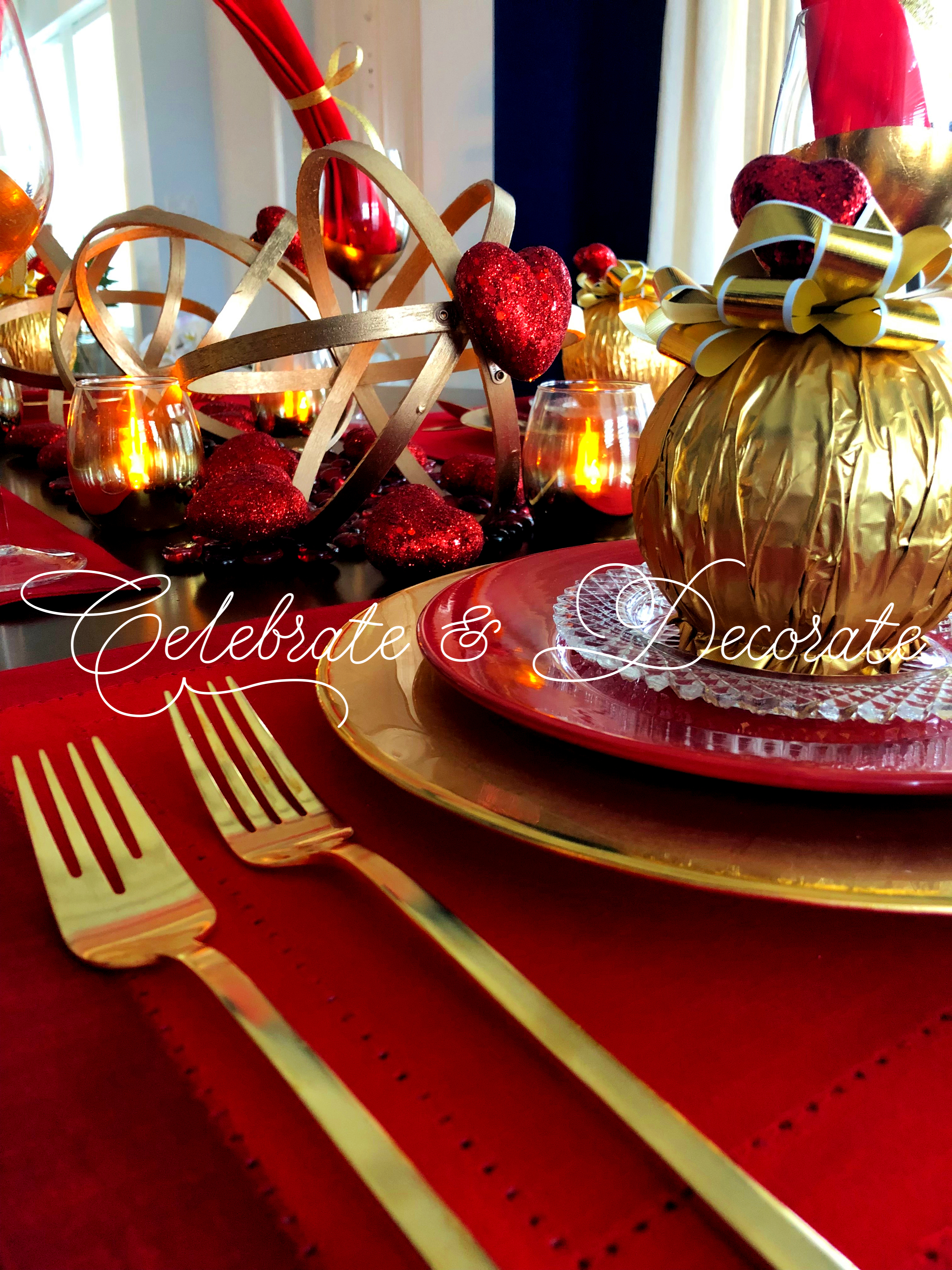 Astonishing Valentines Table In Red And Gold Celebrate Decorate Download Free Architecture Designs Grimeyleaguecom