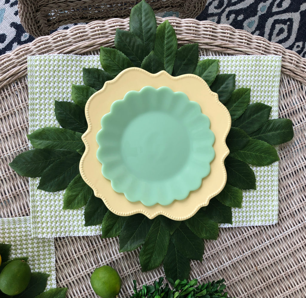 Lemon and lime plate stack for a tablescape