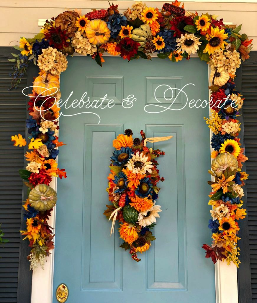Fall decorated front door