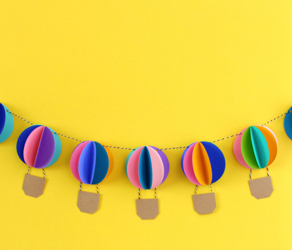 Paper garland of hot air balloons