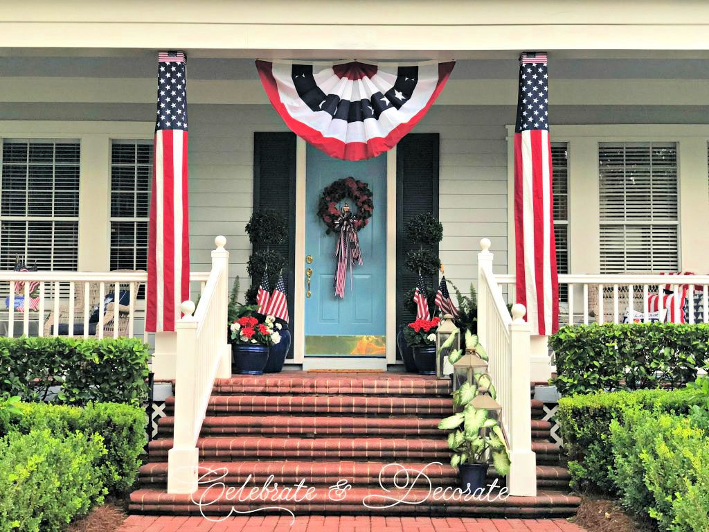 Traditional porch decorated for the 4th of July