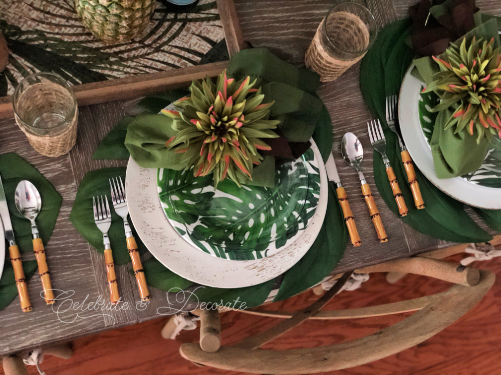 Overhead shot of tropical tablescape