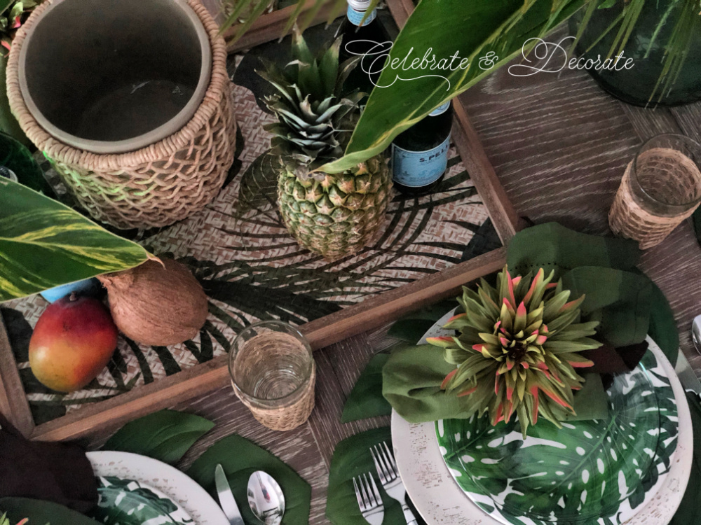 Overhead photo of tropical tablescape