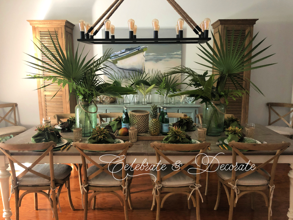 Table set for a tropical dinner party
