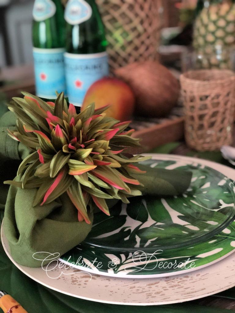 Palm print dinner plates