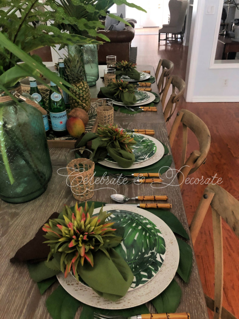 Tropical inspired tablescape