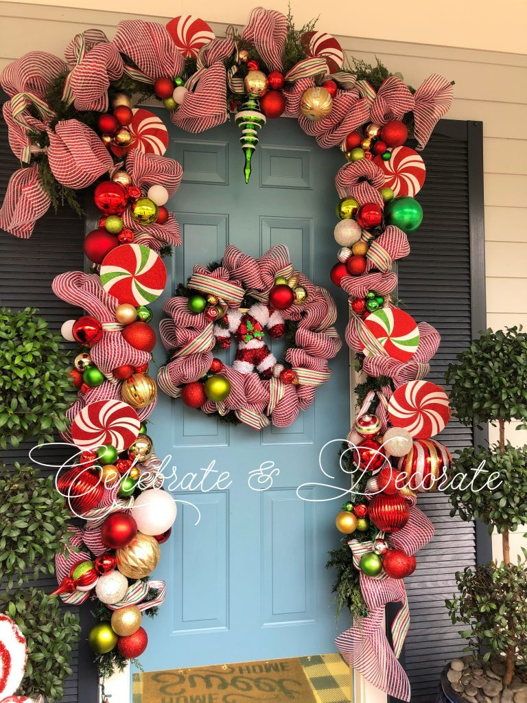 Christmas decorated front door