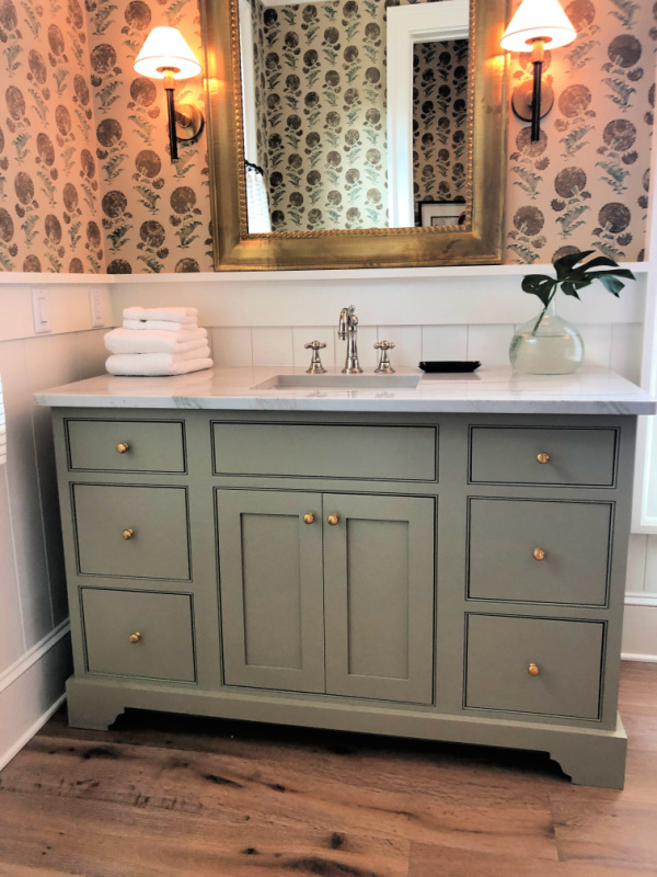 Moss green bathroom vanity