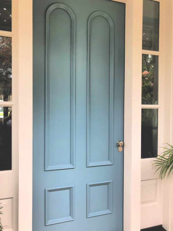 Tall blue front door