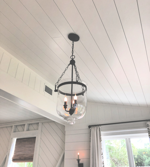 Shiplap ceiling and light fixture