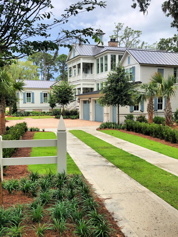Looking down the driveway of a low country coastal home