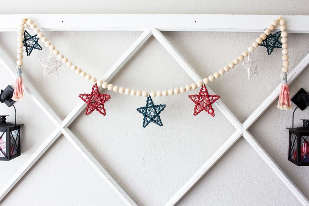 Wood bead garland with stars