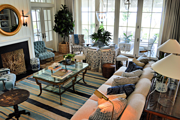 Elegant but comfy and welcoming living room in neutrals and blue tones