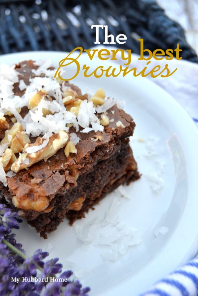 chocolate brownie with nuts and coconut
