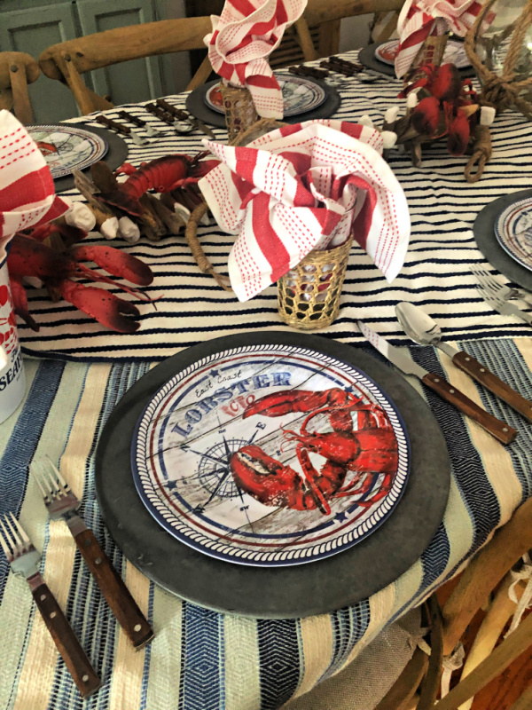 Melamine lobster dinner place setting with galvanized charger plates