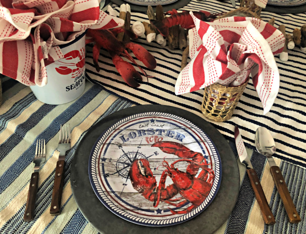 Melamine lobster dinner plates