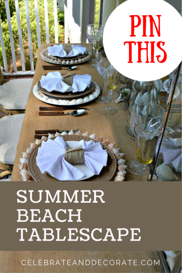 coastal tablescape for summer with burlap and