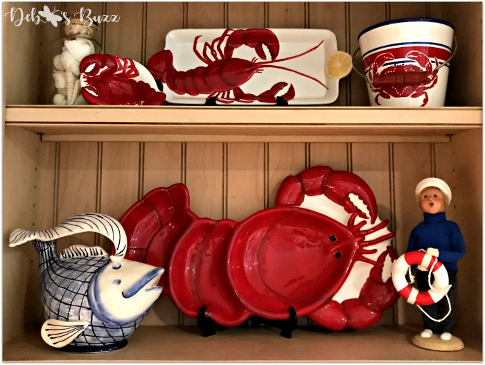 Kitchen shelves with lobster and crab dishes